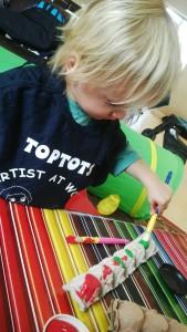 Ben Painting his Hungry Caterpillar